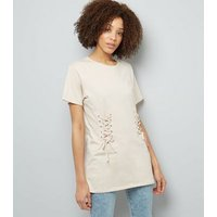 Shell Pink Lace Up Corset Longline T-Shirt New Look