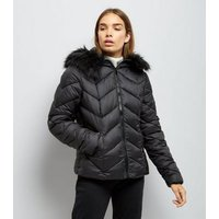 Black Faux Fur Trim Hooded Chevron Puffer Jacket New Look