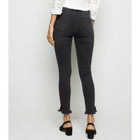 Black Fray Hem Skinny Jenna Jeans New Look