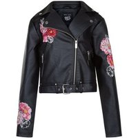 Teens Black Floral Embroidered Leather-Look Jacket New Look