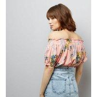Pink Floral Print Bardot Neck Crop Top New Look