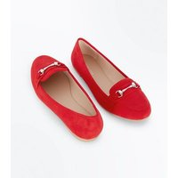 Red Suedette Metal Trim Loafers New Look
