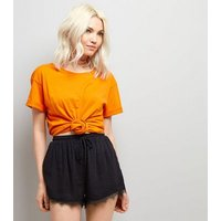 Petite Black Jacquard Lace Trim Shorts New Look