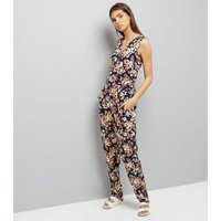 Mela Navy Floral Zip Front Jumpsuit New Look