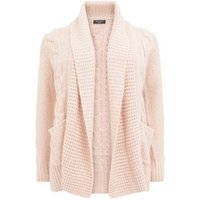 Curves Pink Cable Knit Cardigan New Look