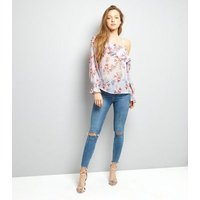 Purple Floral Print Frill Trim Off the Shoulder Top New Look