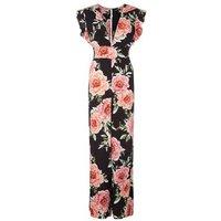 Black Floral Print V Neck Jumpsuit New Look
