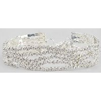 Silver Crystal Wavey Bracelet New Look