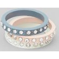 3 Pack White Blue and Pink Diamante Rings New Look