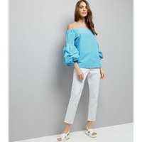 Blue Gingham Ruched Sleeve Bardot Neck Top New Look