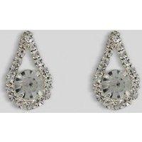 Silver Diamante Teardrop Stud Earrings New Look