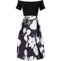 AX Paris Black Floral Skirt Bardot Dress New Look