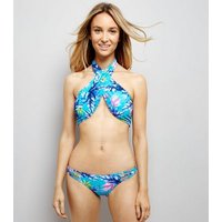 Blue Tropical Print Strappy Low Rise Bikini Bottoms New Look