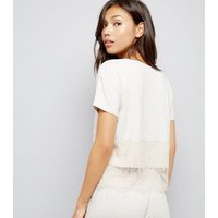 Tall Cream Lace Trim Jersey Pyjama T-Shirt New Look