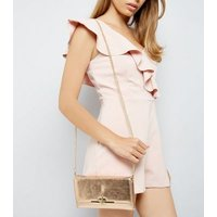 Rose Gold Pearly Purse Clutch New Look