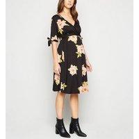 Maternity Black Floral Print Tie Sleeve Dress New Look