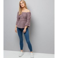 Red Check Bell Sleeve Bardot Neck Top New Look