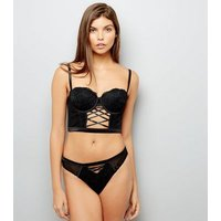 Black Lace Lattice Front Longline Bra New Look