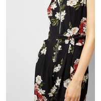 Cameo Rose Black Floral Print Zip Front Jumpsuit New Look