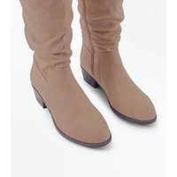 Wide Fit Light Brown Suedette Slouchy Knee High Boots New Look