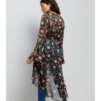 Black Floral Print Flute Sleeve Kaftan New Look