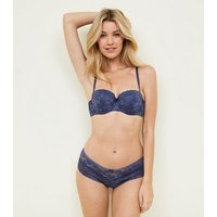 Blue Lace Strapless Bra New Look
