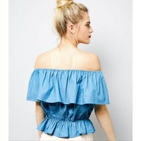 Cameo Rose Blue Embroidered Frill Trim Bardot Neck Top New Look