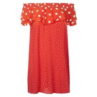 Red Contrast Polka Dot Bardot Neck Dress New Look