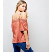 Light Brown Crochet Trim Cold Shoulder Top New Look