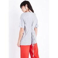 Grey L'Amour Floral Corset Back T-Shirt New Look