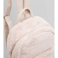 Shell Pink Faux Fur Mini Backpack New Look