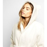Cream Hooded Teddy Ear Robe New Look