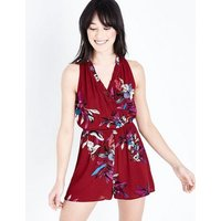 Urban Bliss Red Floral Print Playsuit New Look