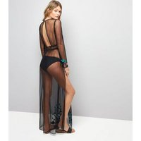 Black Floral Embroidered Mesh Cover Up Maxi Dress New Look