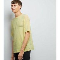 Yellow Acid Wash Solitude Print T-Shirt New Look