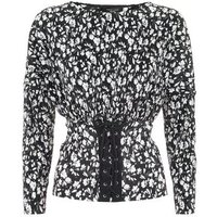 Petite Black Floral Print Pleated Corset Top New Look