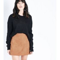 Tan Suedette A-Line Mini Skirt New Look