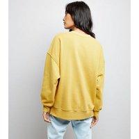 Mustard Yellow Slouchy Split Side Sweatshirt New Look