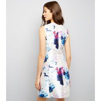 AX ParisAX Paris Cream Floral Print Skater Dress New Look