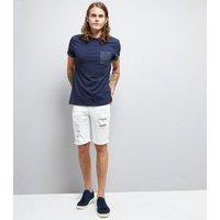 Mens Navy Spot Print Pocket T-Shirt New Look