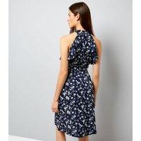 Blue Vanilla Navy Floral Print Halter Neck Dress New Look
