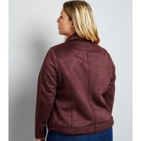 Curves Burgundy Suedette Biker Jacket New Look