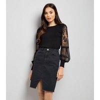 Black Lace Balloon Sleeve Jumper New Look