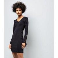 Pink Vanilla Black Lace-Up Sleeve Dress New Look