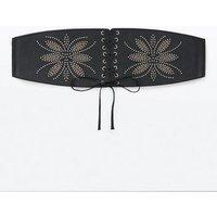 Black Floral Stud Embellished Corset Belt New Look