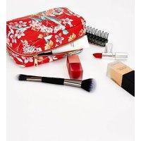 Red Floral Make Up Bag New Look