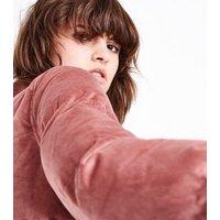Blue Vanilla Pink Velvet Puffer Jacket New Look