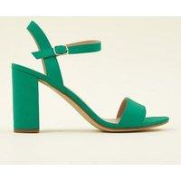 Green Suedette Block Heel Sandals New Look