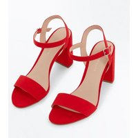 Red Suedette Block Heel Sandals New Look