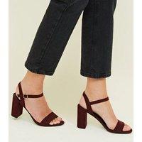 Dark Red Suedette Block Heel Sandals New Look